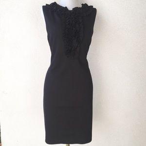 Trina Turk Black Ruffled Collar Sheath Dress 4 6